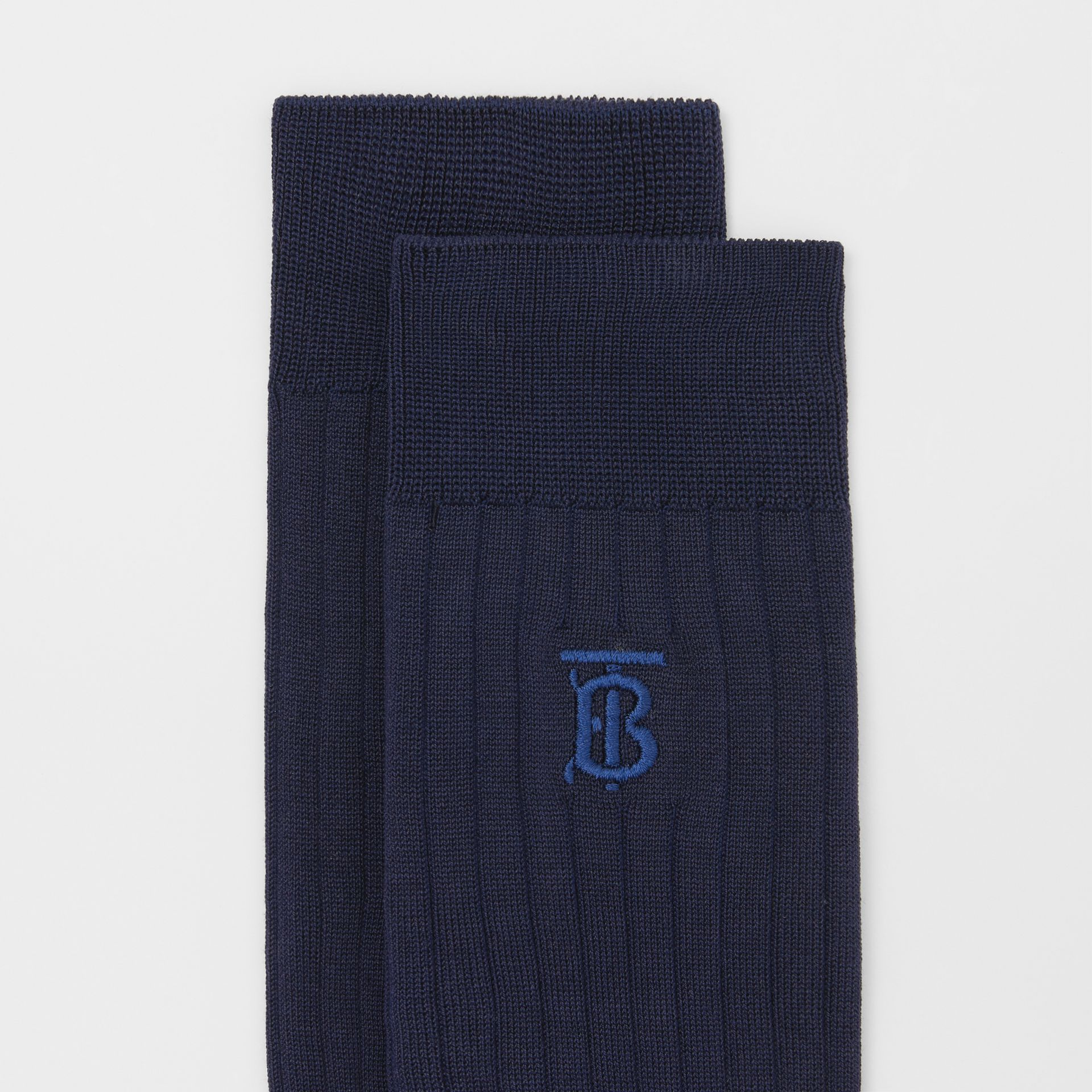Monogram Motif Cotton Blend Socks in Navy | Burberry - gallery image 1