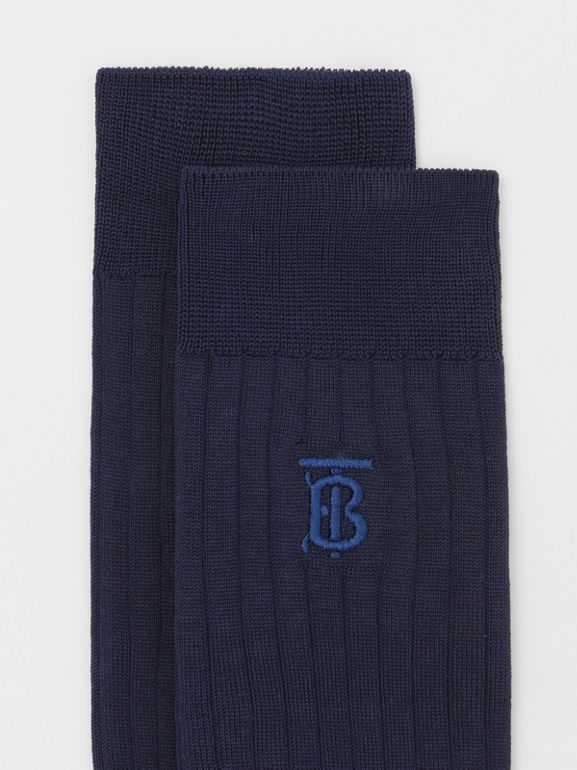 Monogram Motif Cotton Blend Socks in Navy | Burberry - cell image 1