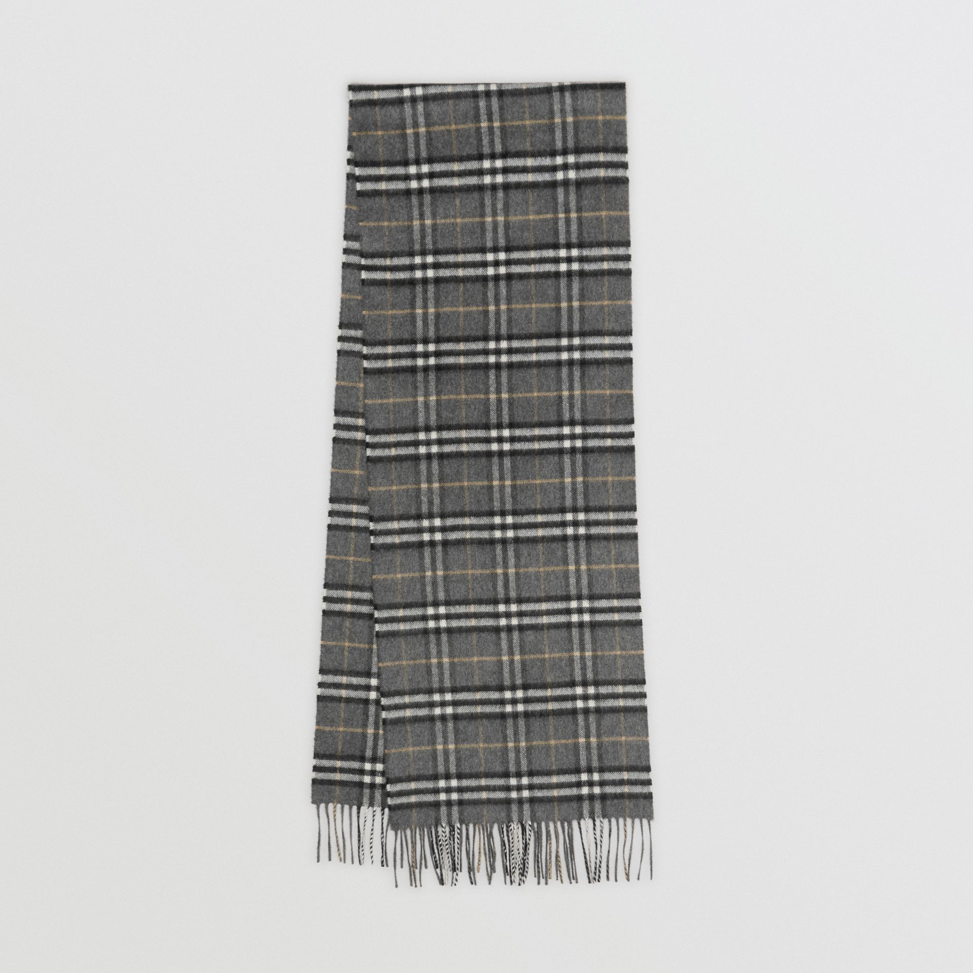 The Classic Vintage Check Cashmere Scarf in Pewter Grey | Burberry Australia - gallery image 0