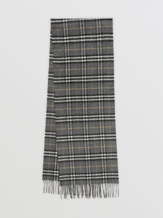 The Classic Vintage Check Cashmere Scarf in Pewter Grey