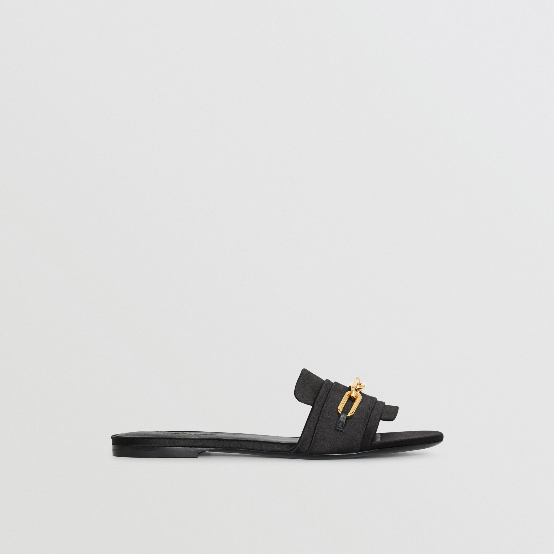 Link Detail Satin and Leather Slides in Black - Women | Burberry United Kingdom - gallery image 5