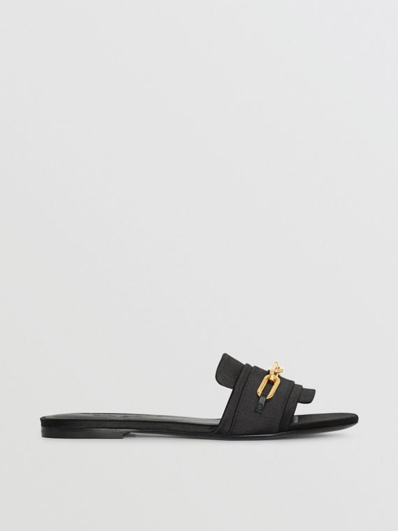 Link Detail Satin and Leather Slides in Black