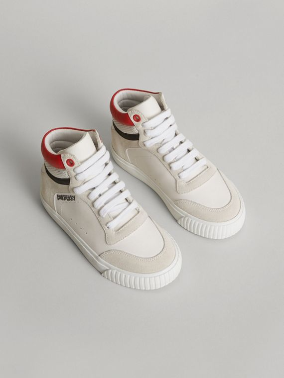 Leather and Suede High-top Sneakers in Optic White
