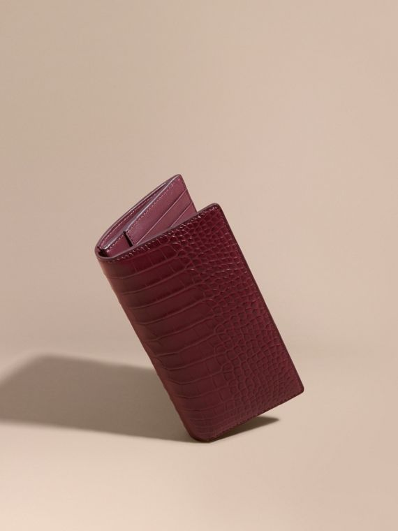 Portefeuille continental en alligator et cuir