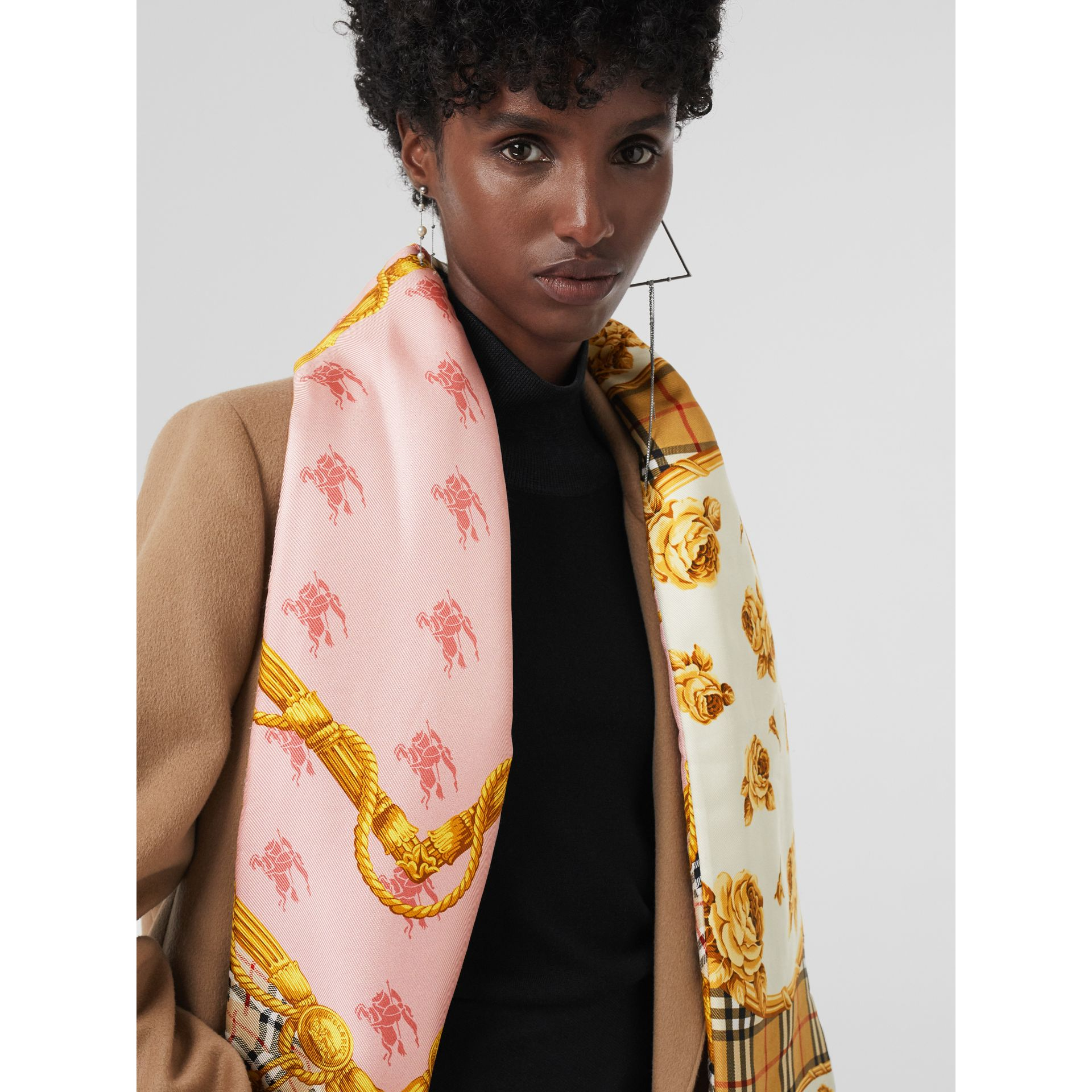 Archive Scarf Print Silk Puffer Scarf in Multicolour | Burberry - gallery image 5