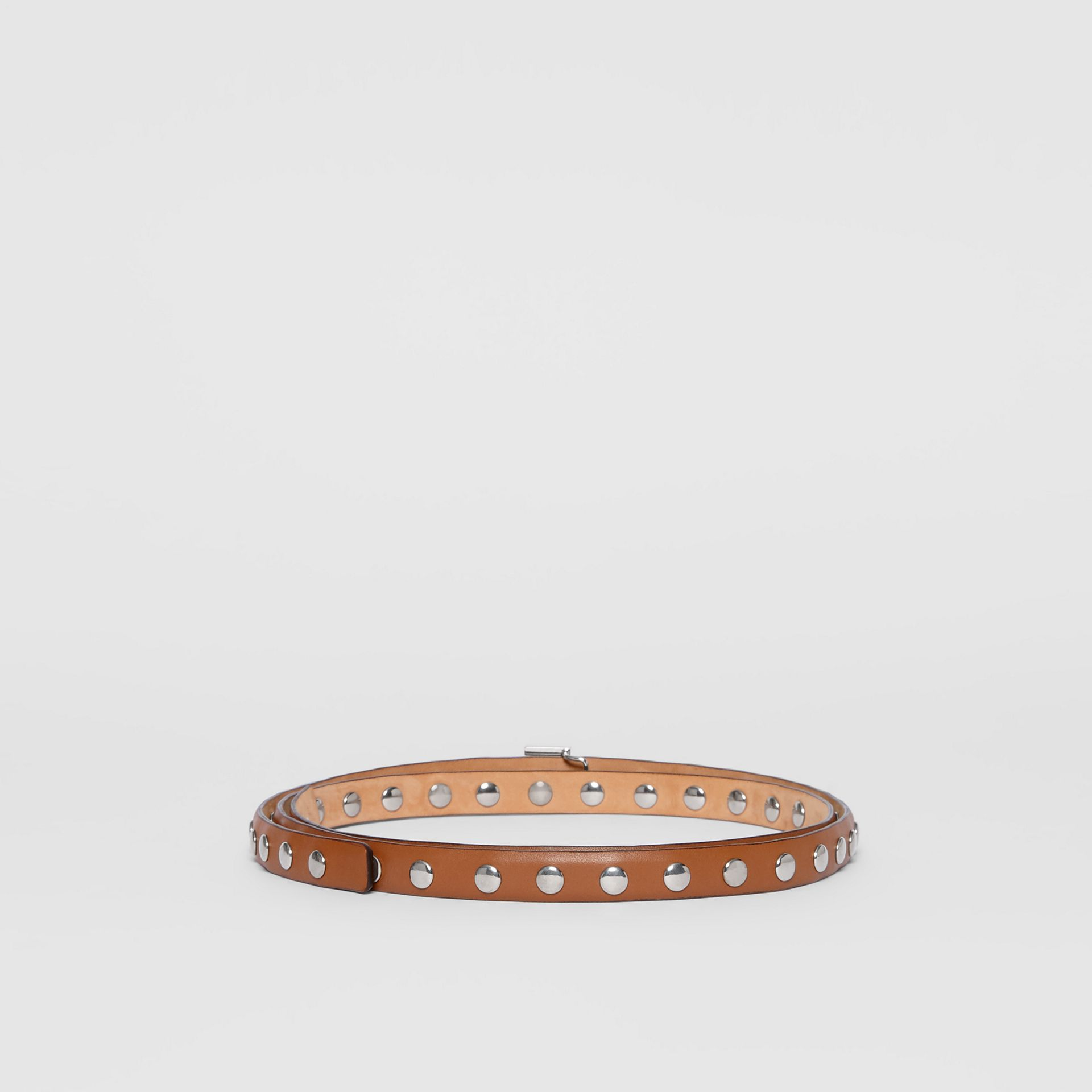 Monogram Motif Studded Leather Belt in Malt Brown/palladio - Women | Burberry - gallery image 4