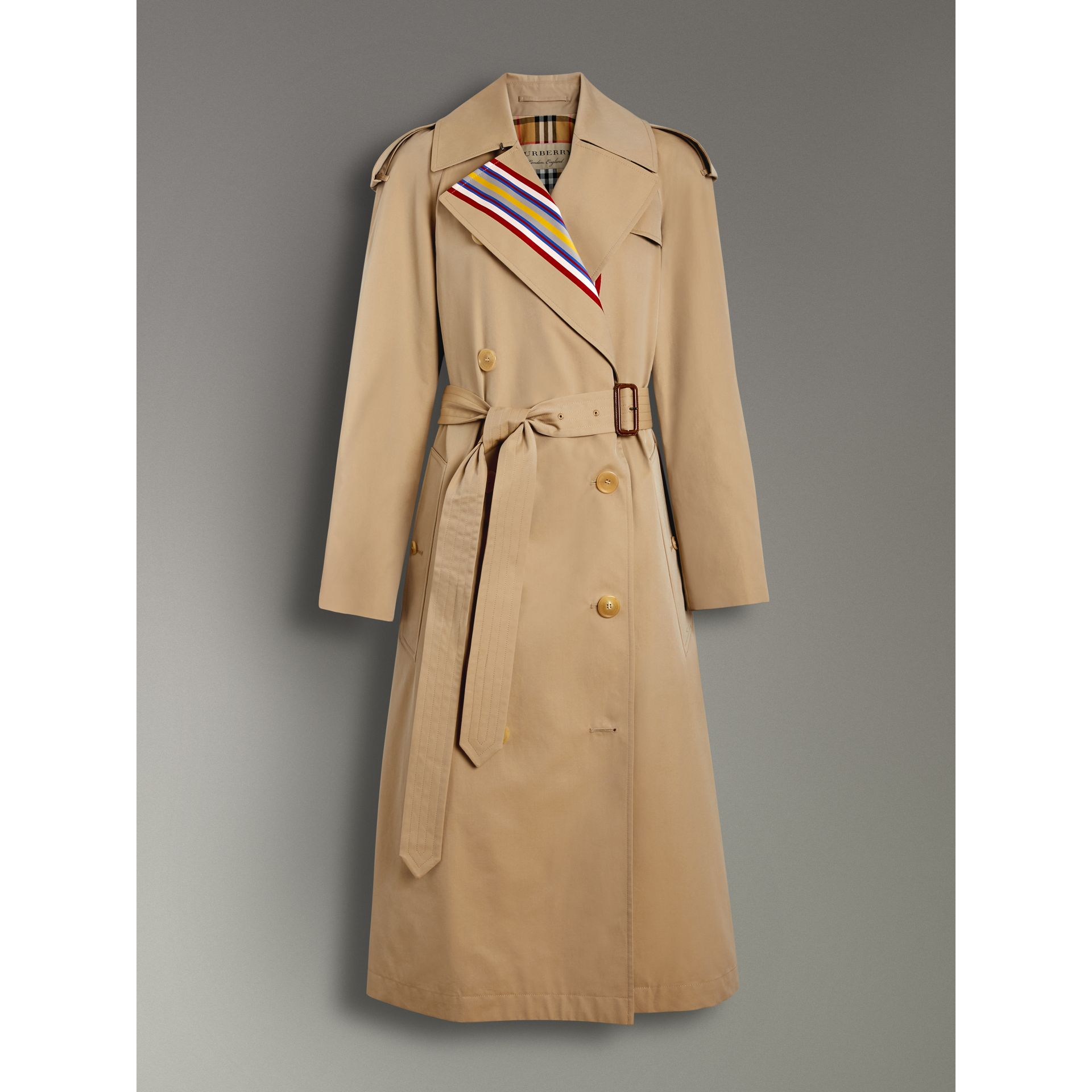 Collegiate Stripe Cotton Gabardine Trench Coat in Honey - Women | Burberry United Kingdom - gallery image 3