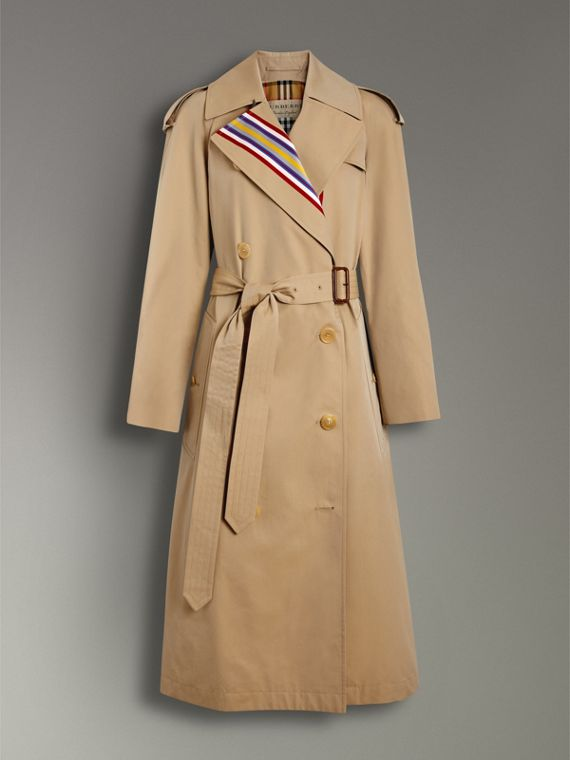 Collegiate Stripe Cotton Gabardine Trench Coat in Honey - Women | Burberry - cell image 3