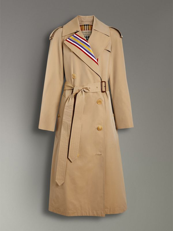 Striped Ribbon Cotton Gabardine Trench Coat in Honey - Women | Burberry - cell image 3