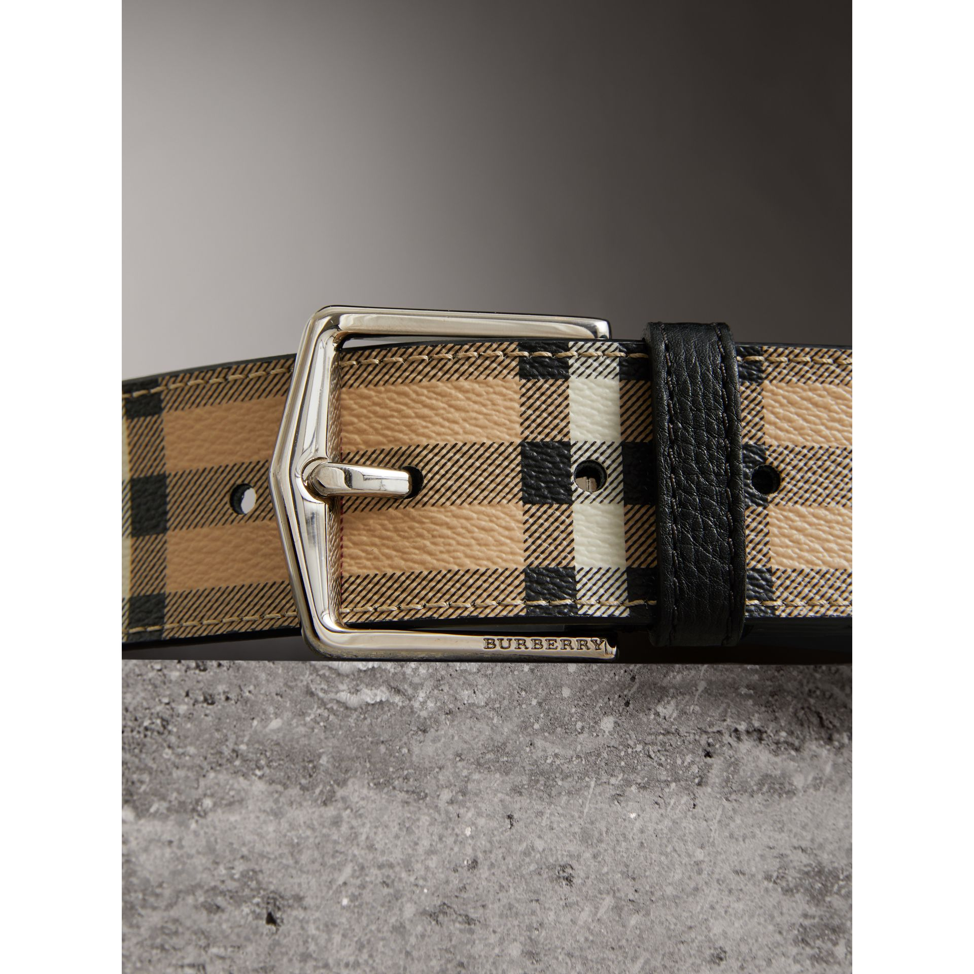 Haymarket Check Belt in Black - Men | Burberry - gallery image 1