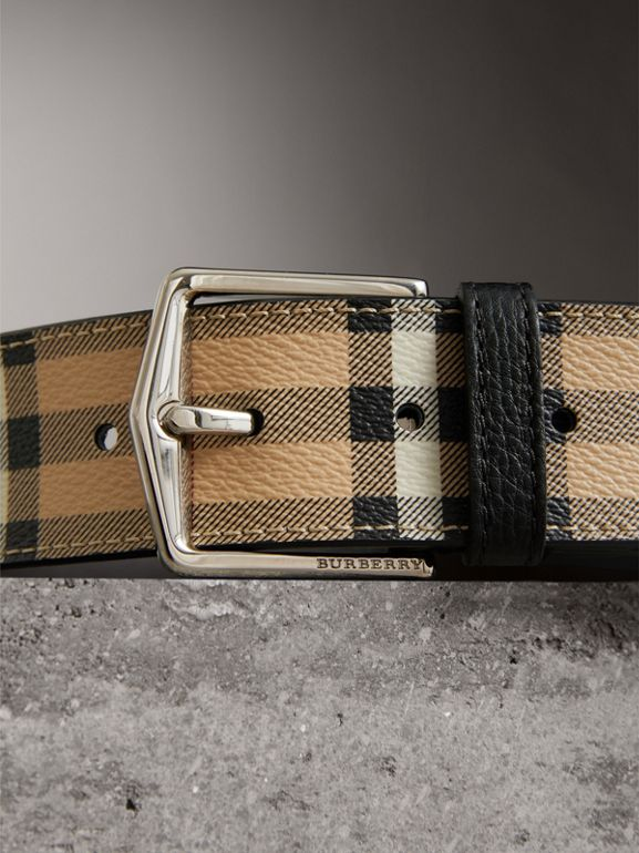 Haymarket Check Belt in Black - Men | Burberry Australia - cell image 1