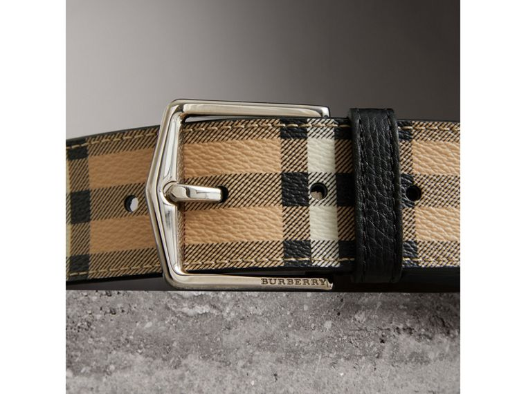 Haymarket Check Belt in Black - Men | Burberry - cell image 1