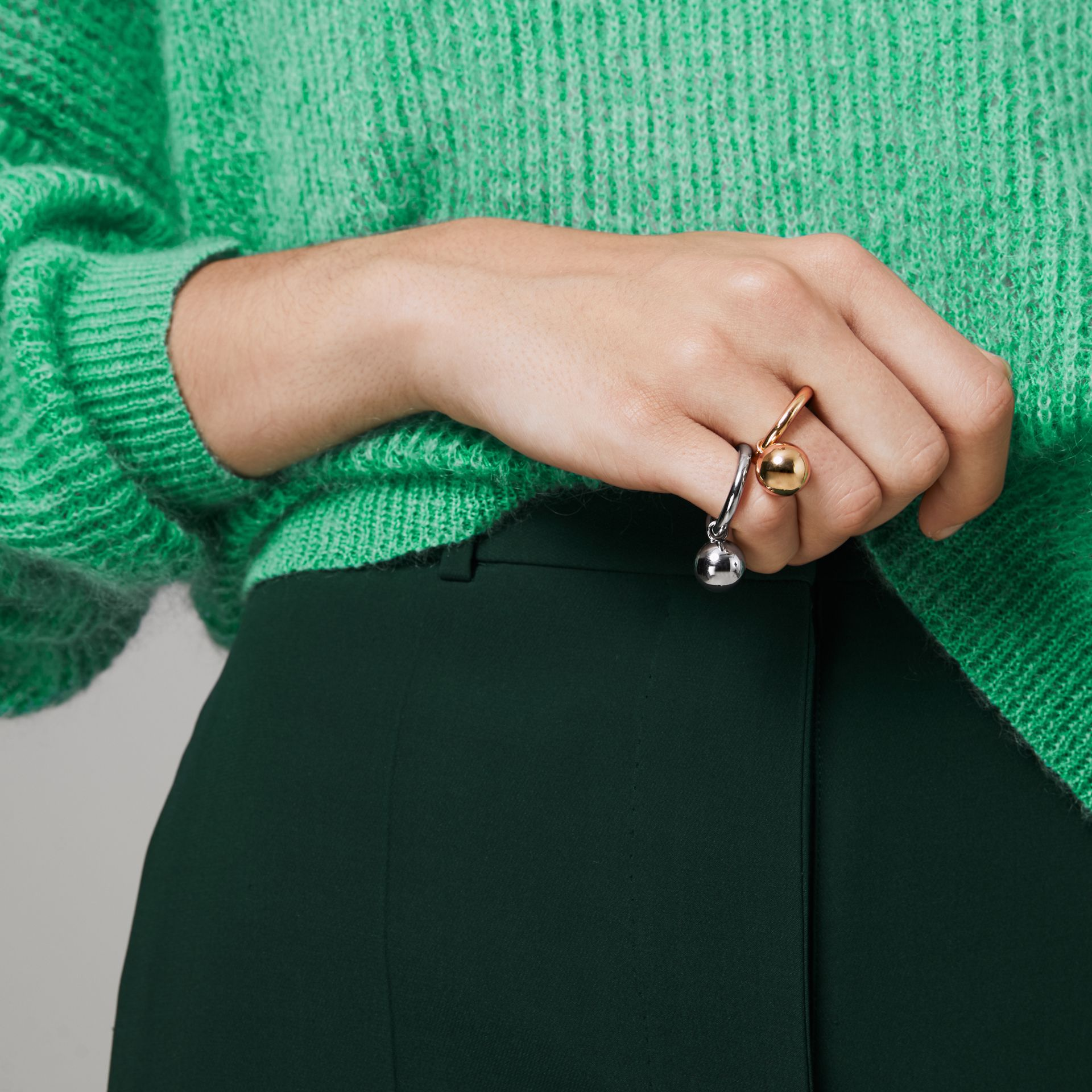 Charm Gold-plated Ring in Light - Women | Burberry Canada - gallery image 3