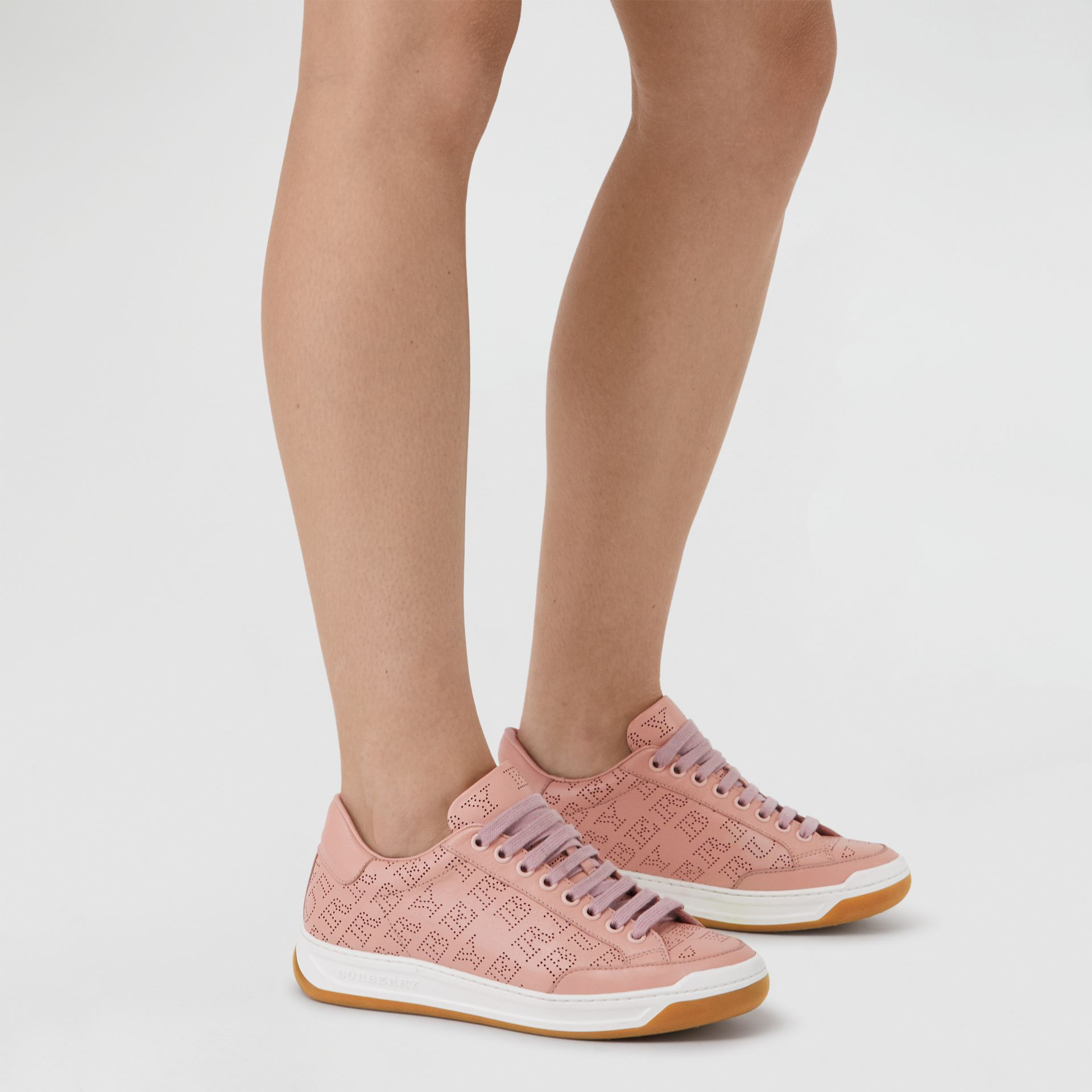 Perforated Logo Leather Sneakers in Pale Fawn Pink - Women | Burberry - gallery image 2