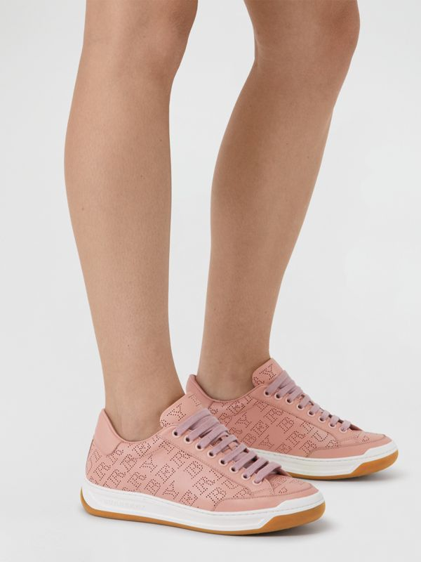 Perforated Logo Leather Sneakers in Pale Fawn Pink - Women | Burberry - cell image 2