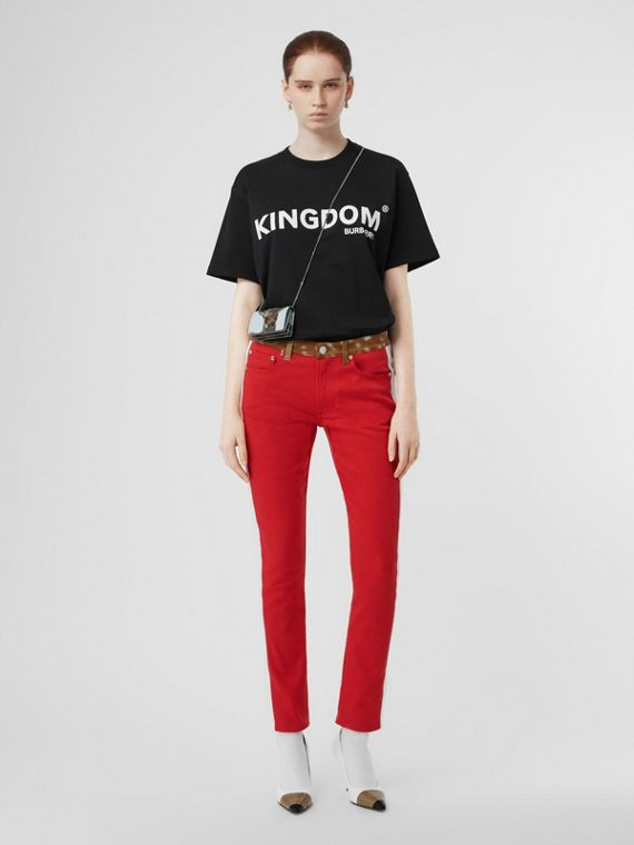 T-shirt in cotone con stampa Kingdom (Nero)