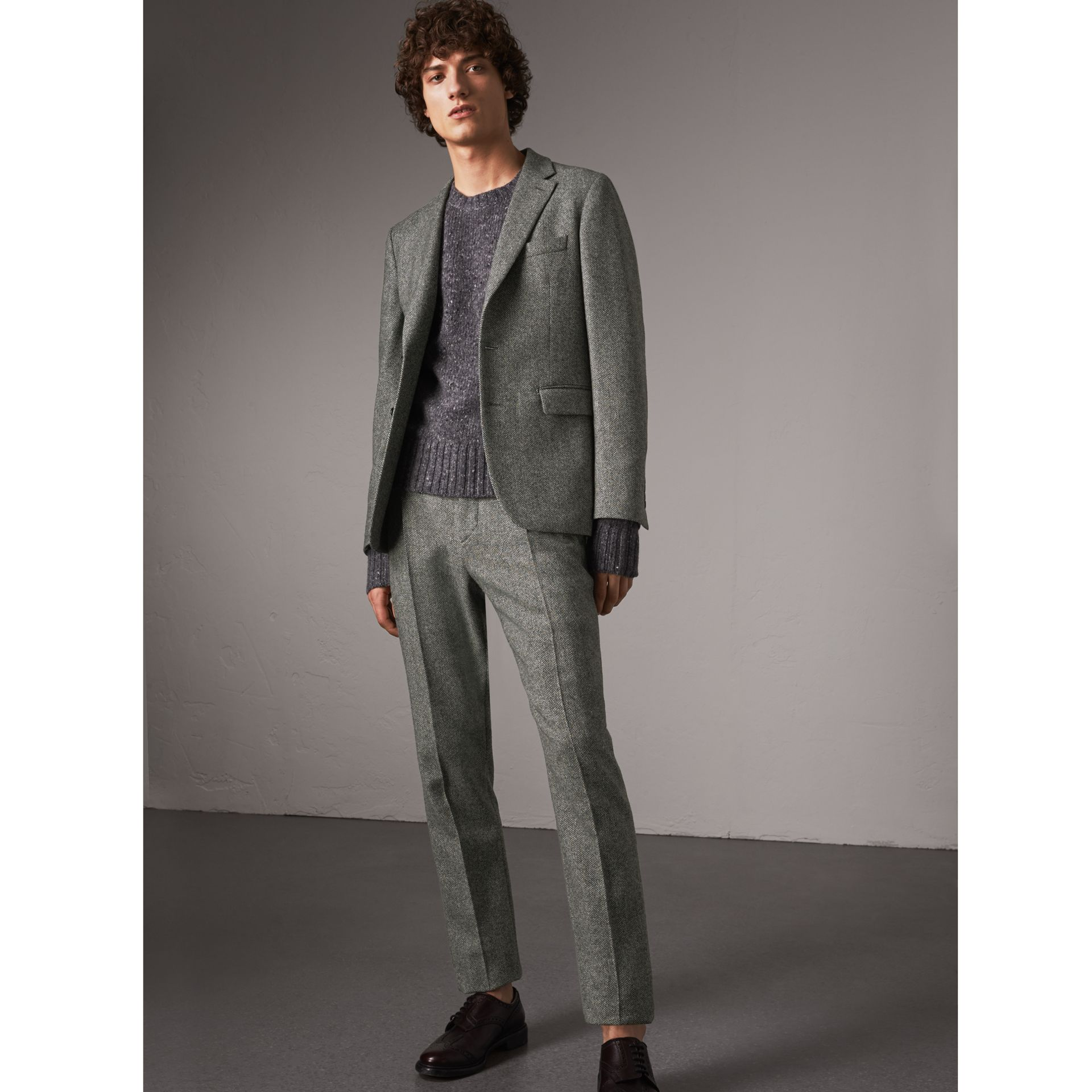 Soho Fit Herringbone Wool Trousers in Black/white - Men | Burberry - gallery image 0