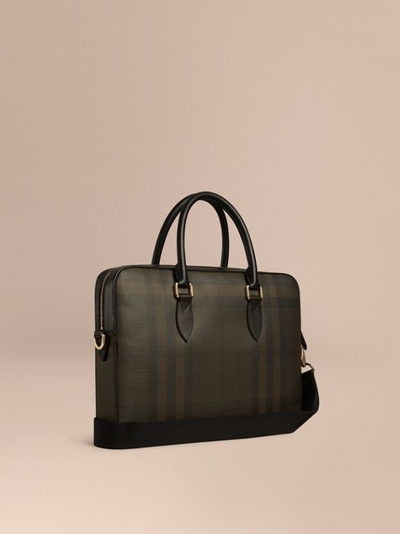Medium Leather Trim London Check Briefcase in Chocolate/black - Men | Burberry