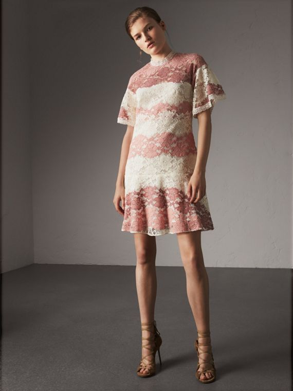 Floral Lace Dress with Flutter Sleeves in Dusty Pink - Women | Burberry