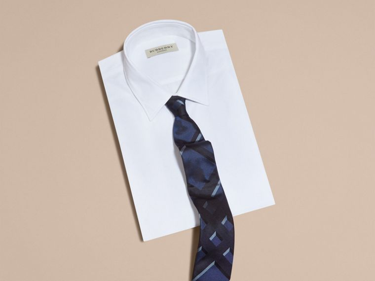 Bleu hortensia Cravate moderne en jacquard de soie à motif check Bleu Hortensia - cell image 2