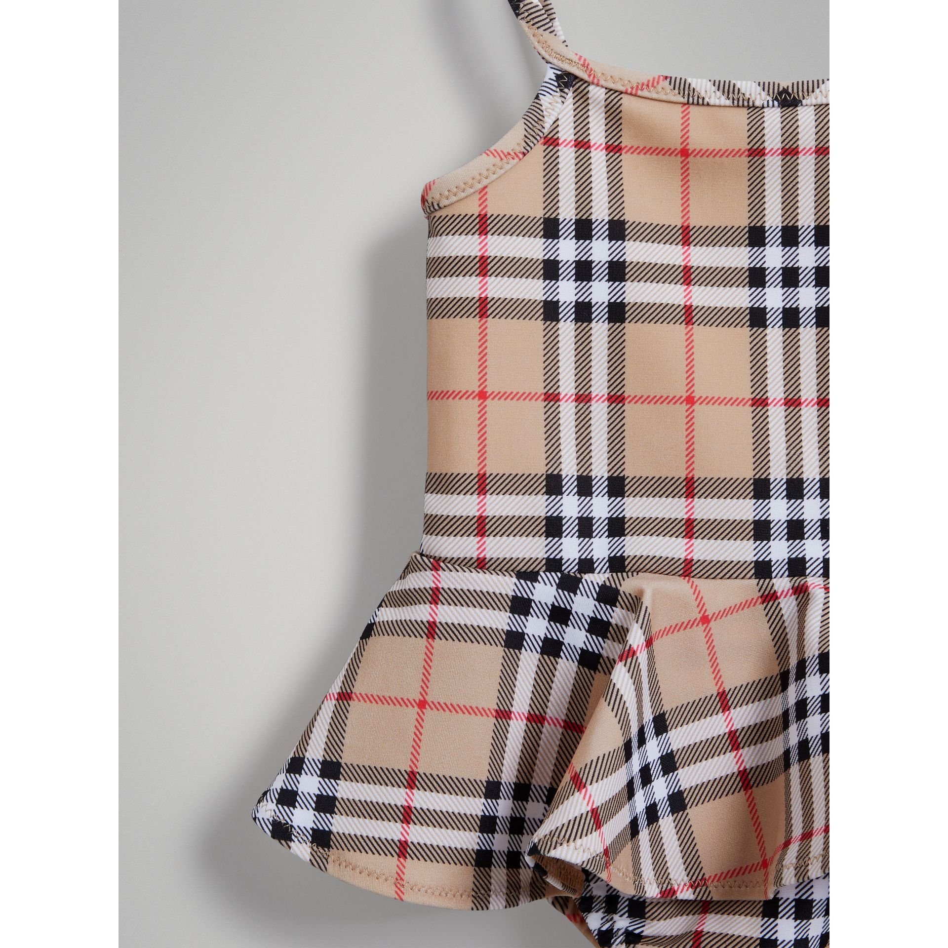 Ruffle Detail Vintage Check One-piece Swimsuit in Camel | Burberry Canada - gallery image 4