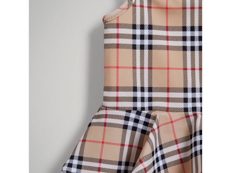 Ruffle Detail Vintage Check One-piece Swimsuit in Camel | Burberry - cell image 4