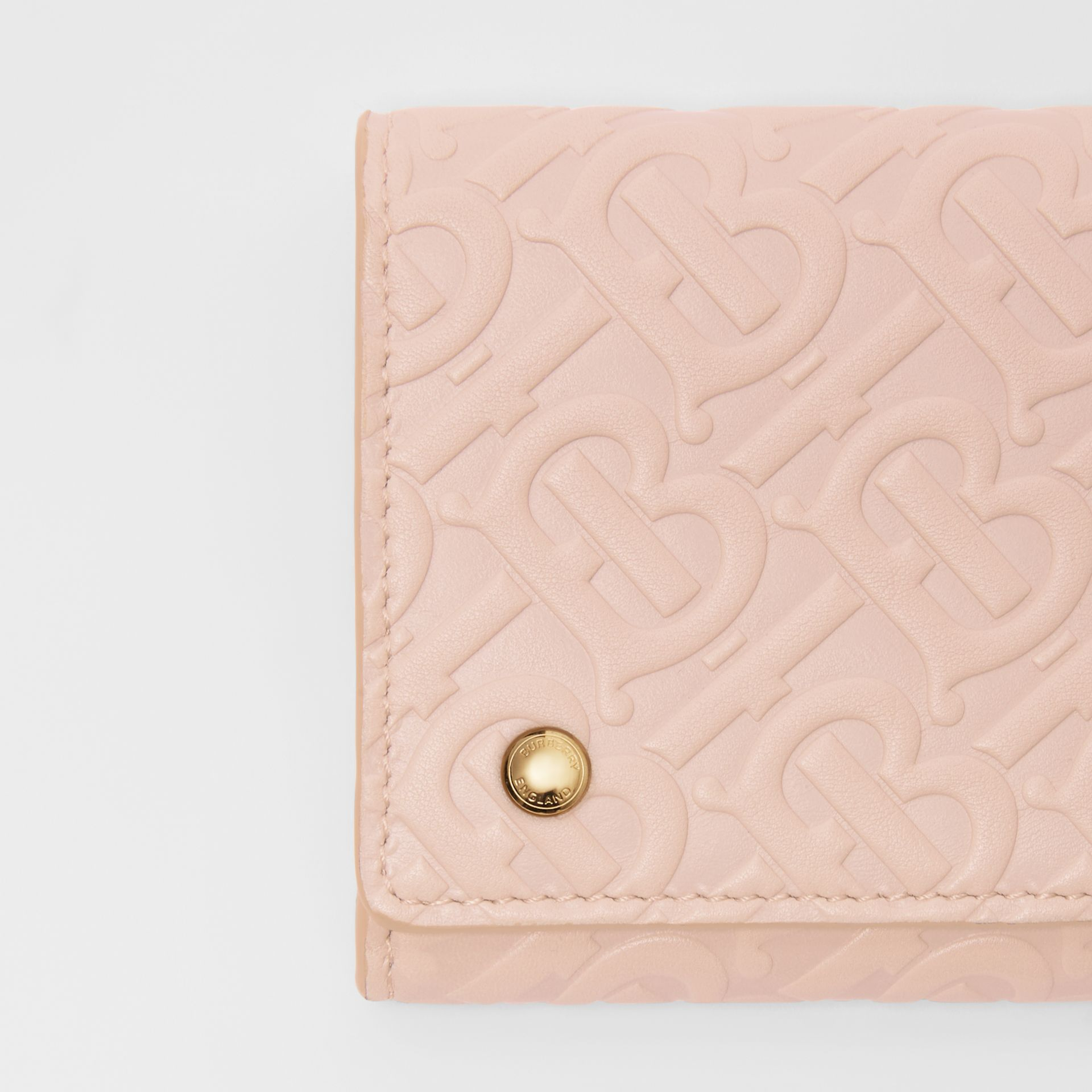 Monogram Leather Continental Wallet in Rose Beige - Women | Burberry United Kingdom - gallery image 1