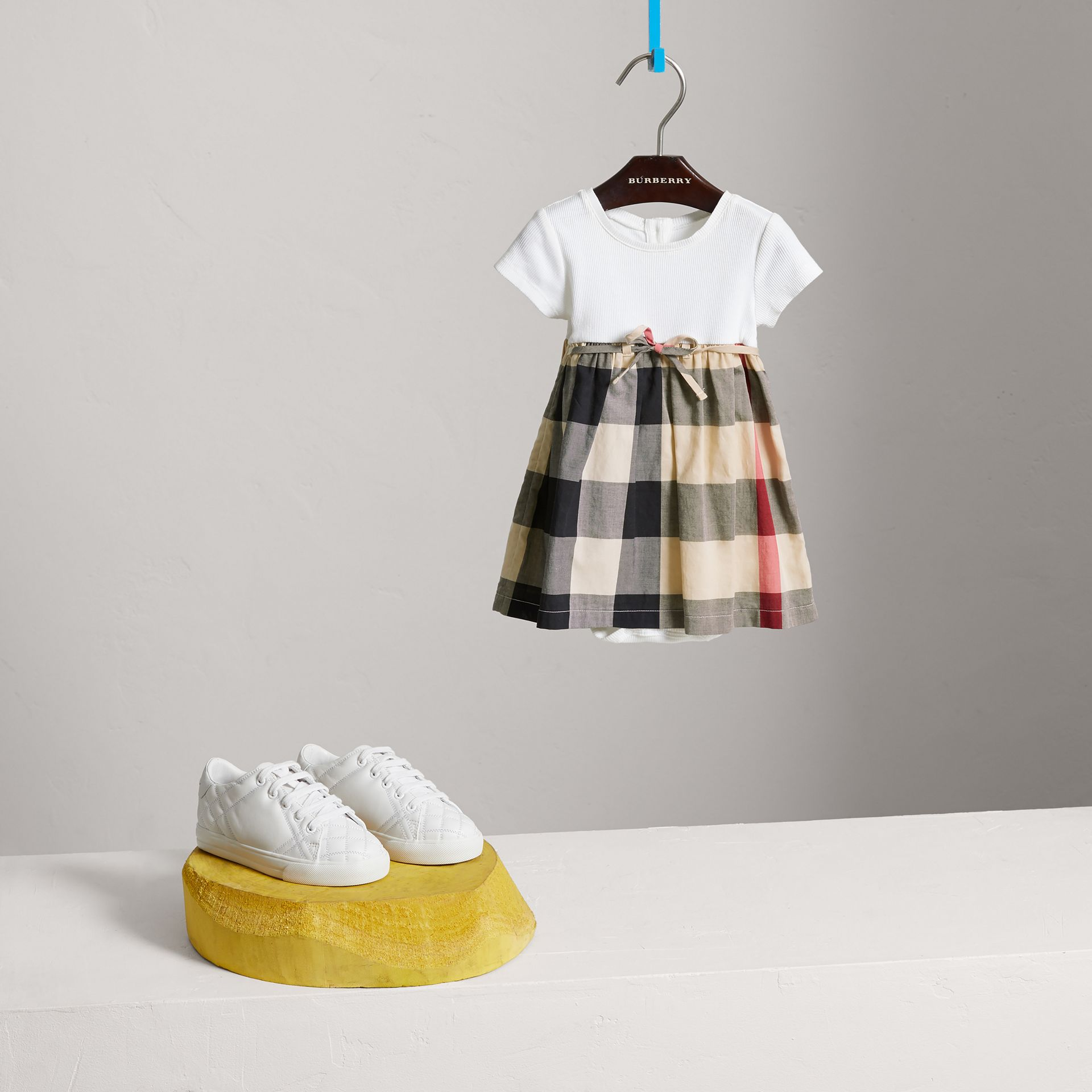 Check Cotton Jersey T-shirt Dress in New Classic | Burberry United Kingdom - gallery image 2