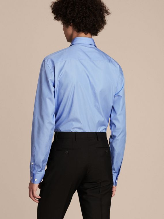 Modern Fit Cotton Poplin Shirt in Mid Blue - cell image 2