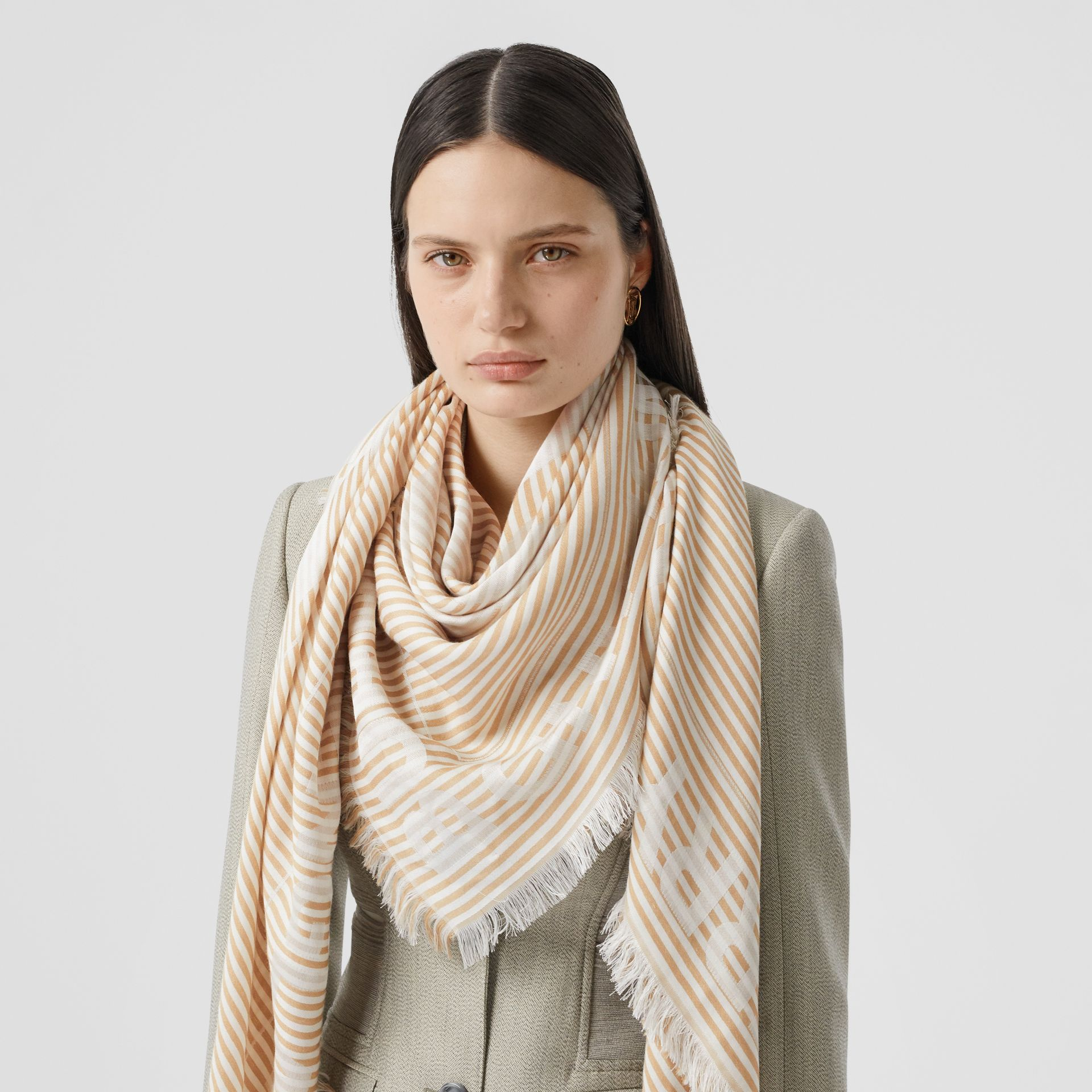 Striped Logo Silk Wool Jacquard Large Square Scarf in Archive Beige | Burberry - gallery image 2
