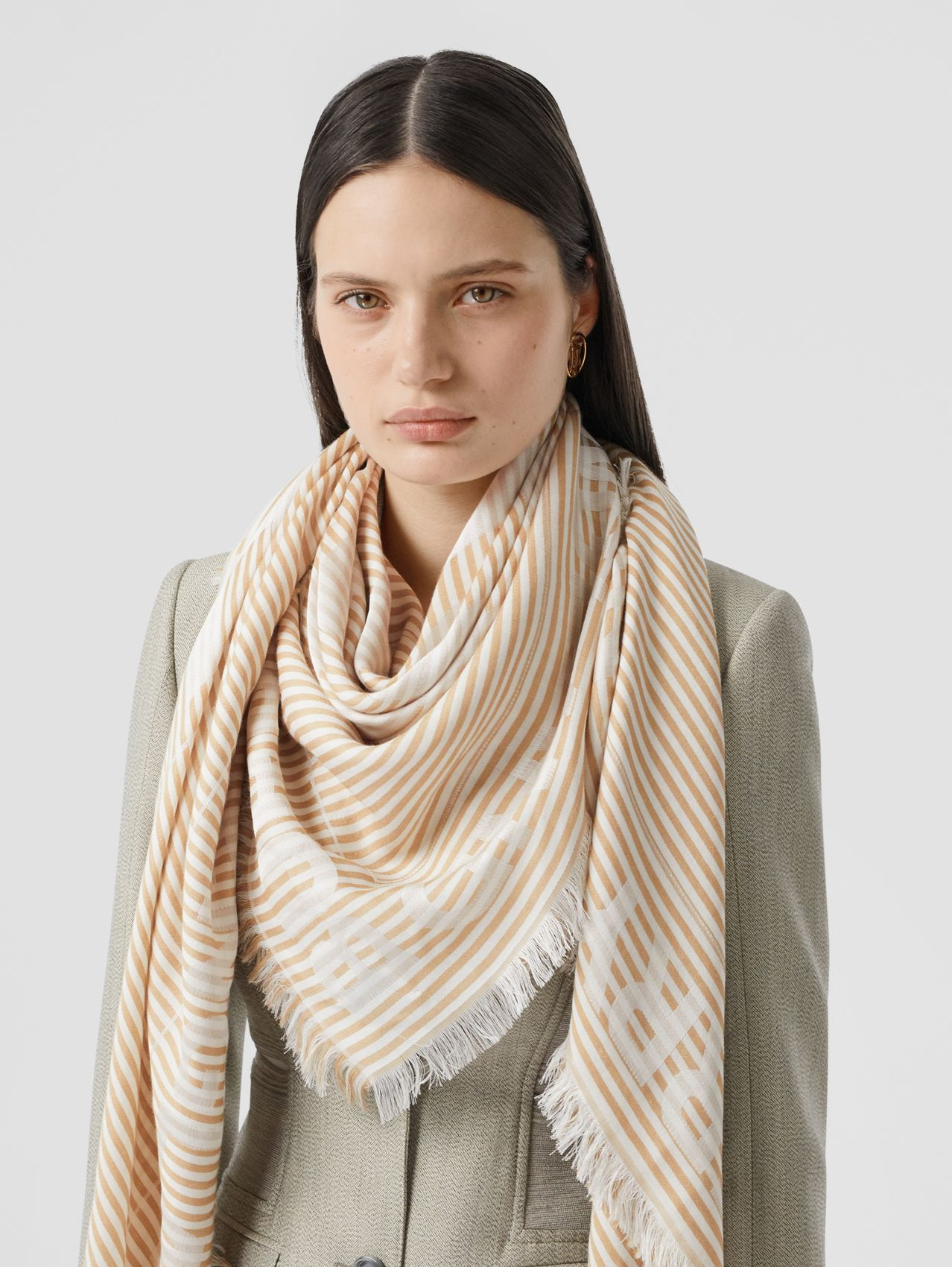 Striped Logo Silk Wool Jacquard Large Square Scarf in Archive Beige