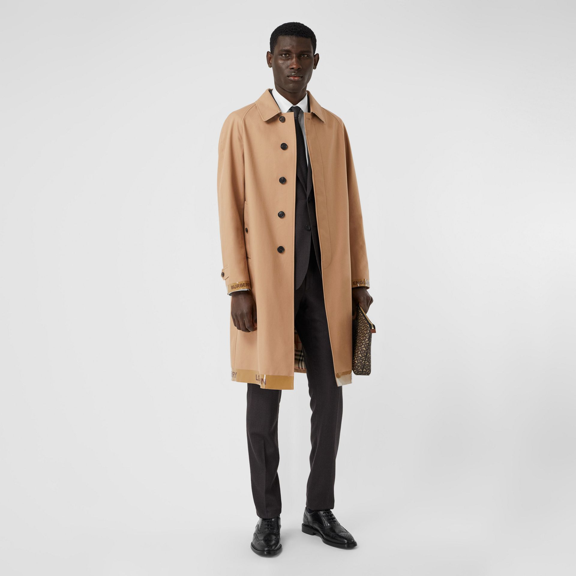 Logo Tape Cotton Car Coat in Warm Walnut - Men | Burberry - gallery image 0