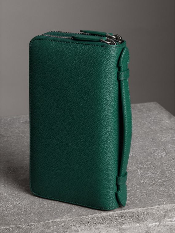 Grainy Leather Travel Wallet in Dark Cyan - Men | Burberry - cell image 2