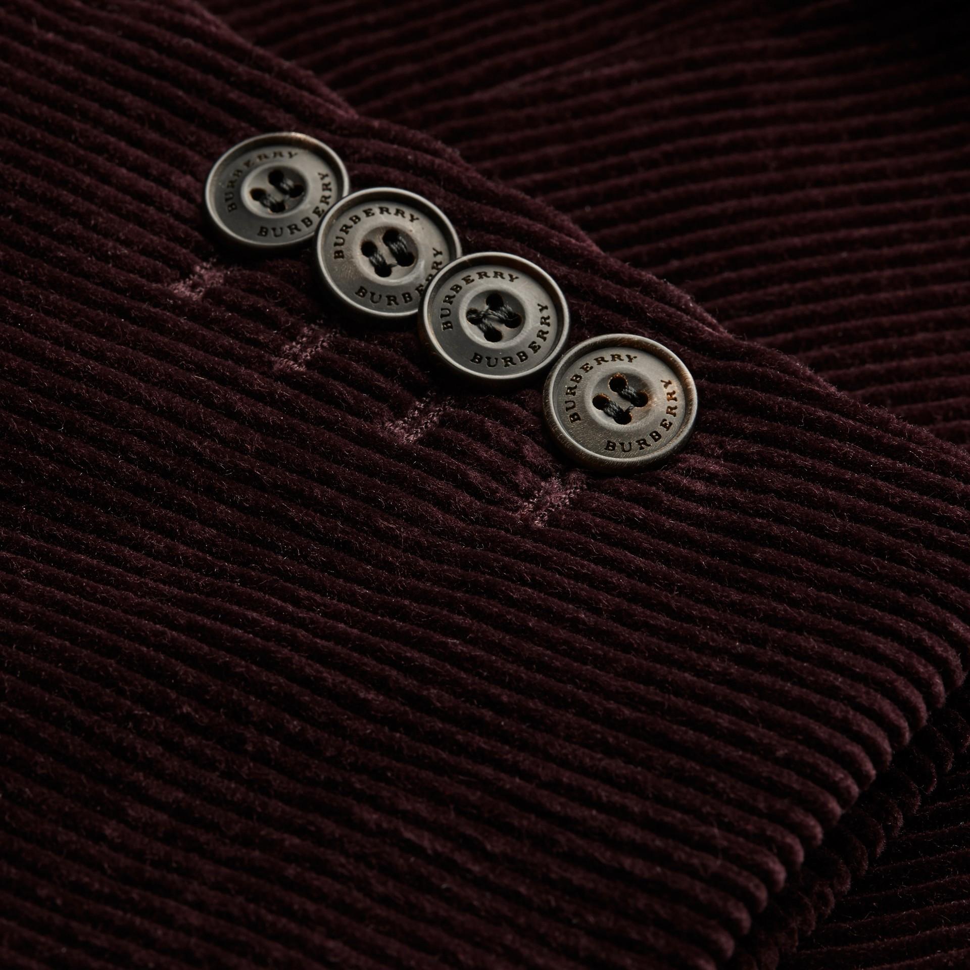 Violet indigo Veste de costume slim en coton côtelé - photo de la galerie 2