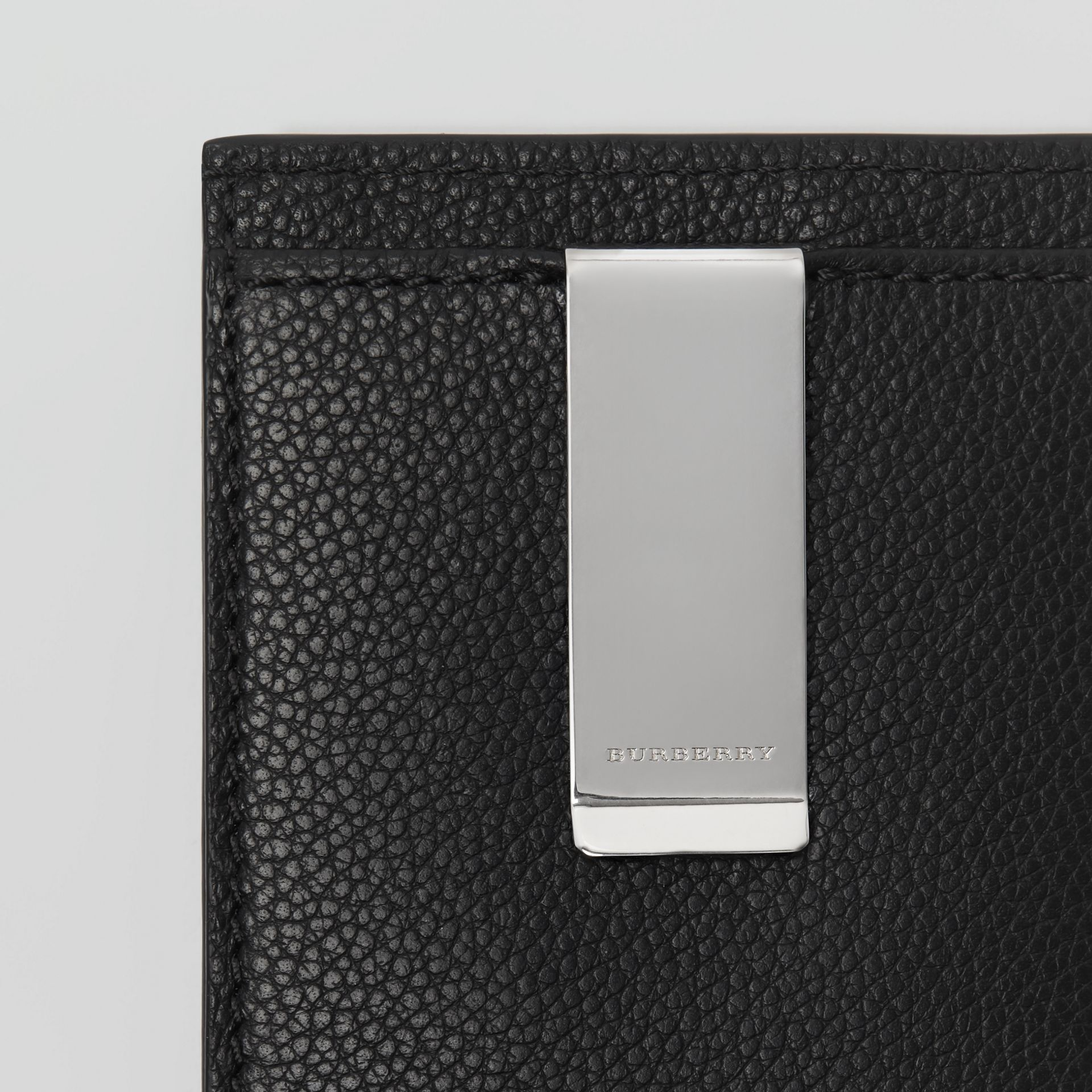 Grainy Leather Money Clip Card Case in Black - Men | Burberry - gallery image 1