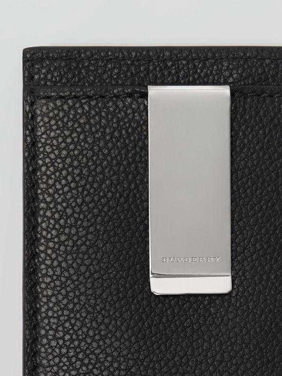Grainy Leather Money Clip Card Case in Black - Men | Burberry - cell image 1