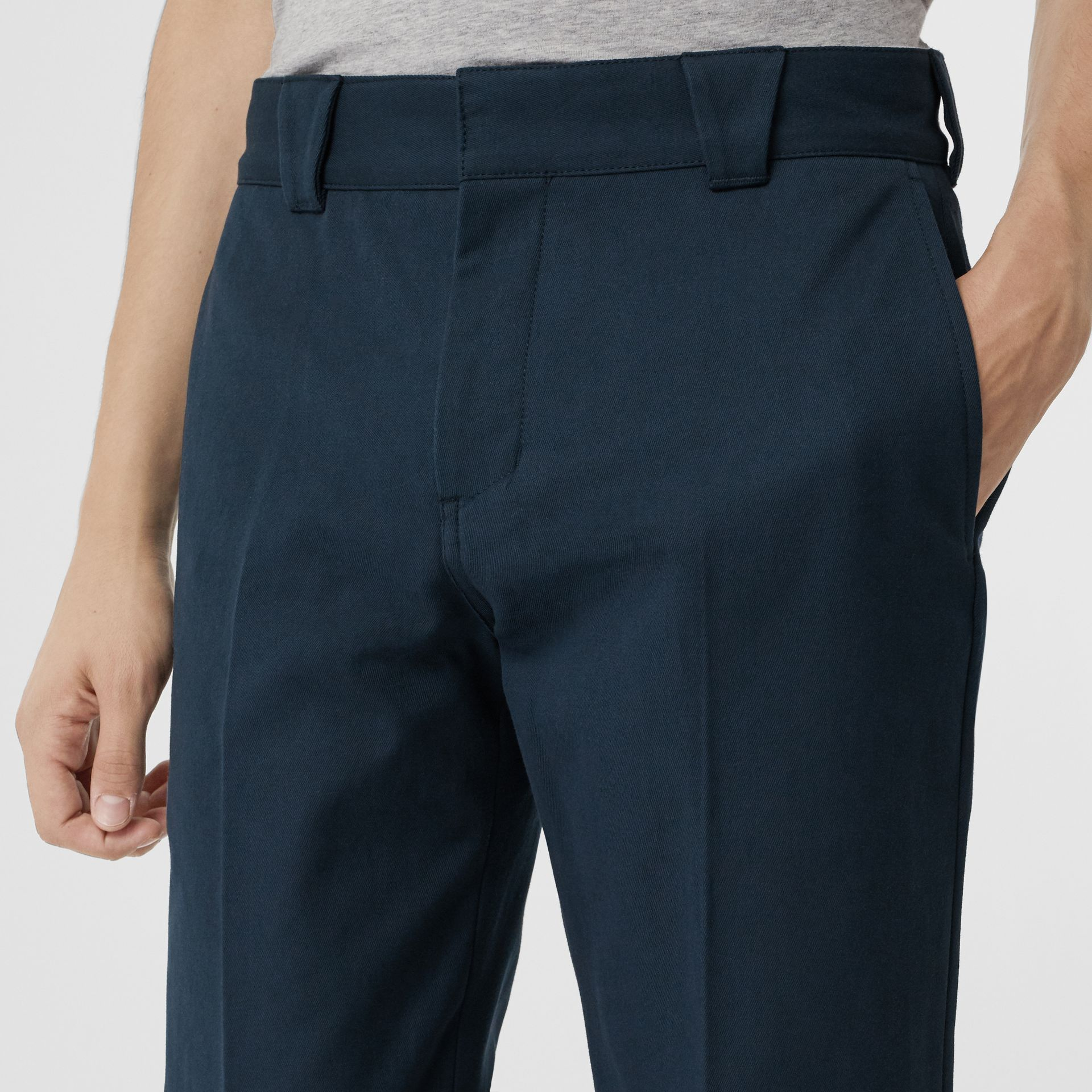 Technical Cotton Twill Trousers in Navy - Men | Burberry Singapore - gallery image 1