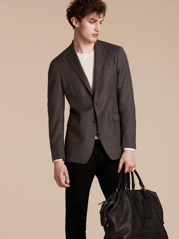 Dark grey Modern Fit Tailored Wool Jacket - cell image 3