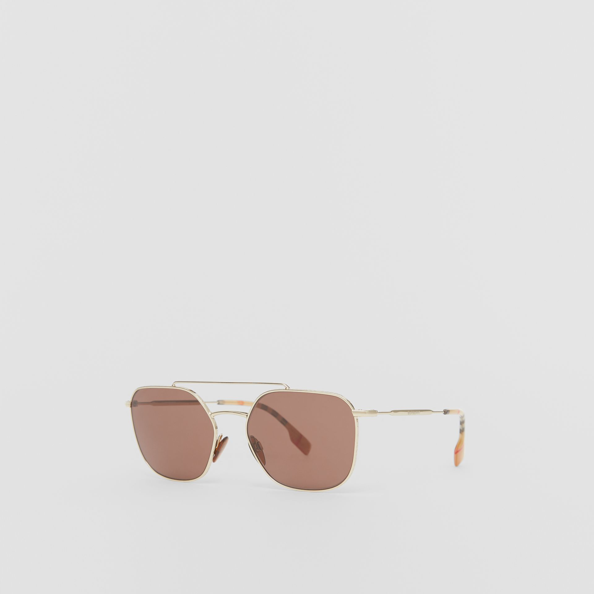 Vintage Check Detail Square Pilot Sunglasses in Yellow Gold - Men | Burberry United Kingdom - gallery image 5