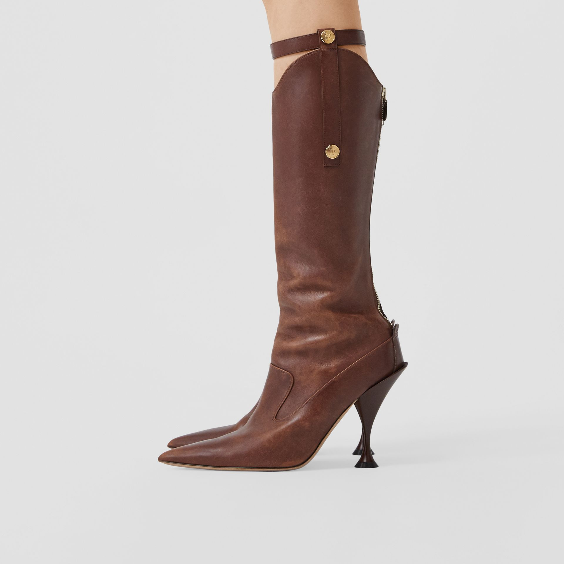 Monogram Motif Stud Detail Leather Boots in Dark Mocha - Women | Burberry - gallery image 2