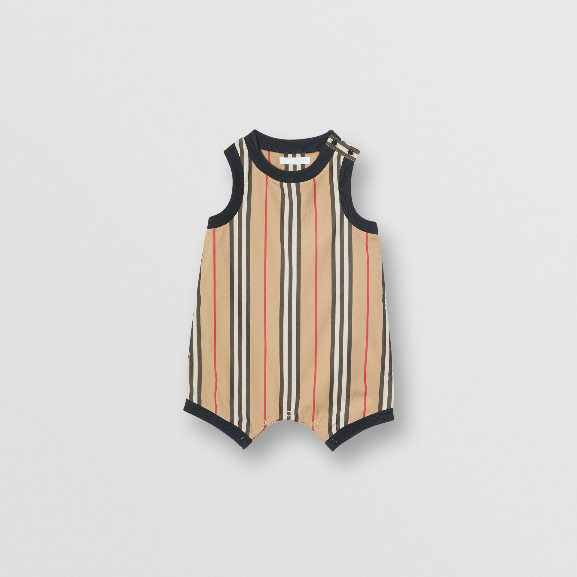 Icon Stripe Cotton Bodysuit in Archive Beige - Children | Burberry United Kingdom - gallery image 0