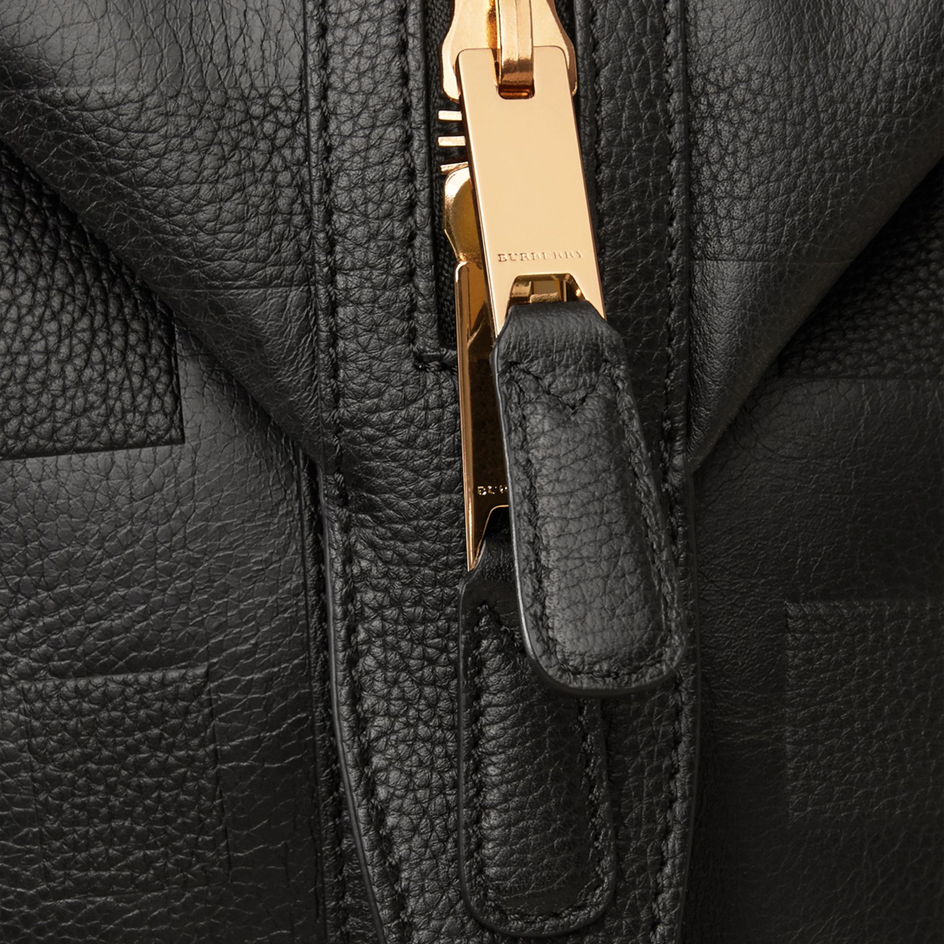 Black Check Embossed Leather Holdall - gallery image 6