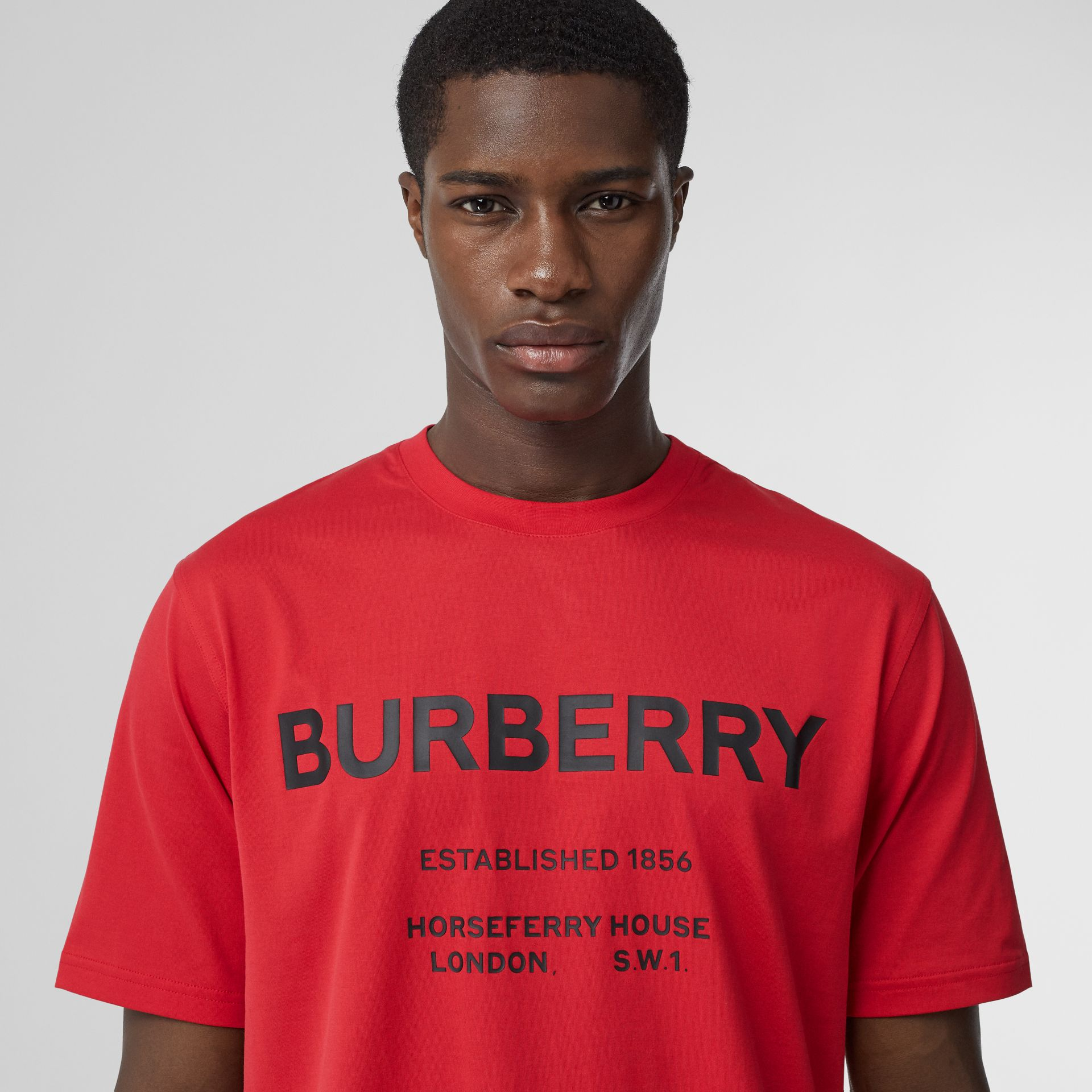 Horseferry Print Cotton T-shirt in Bright Red - Men | Burberry - gallery image 1