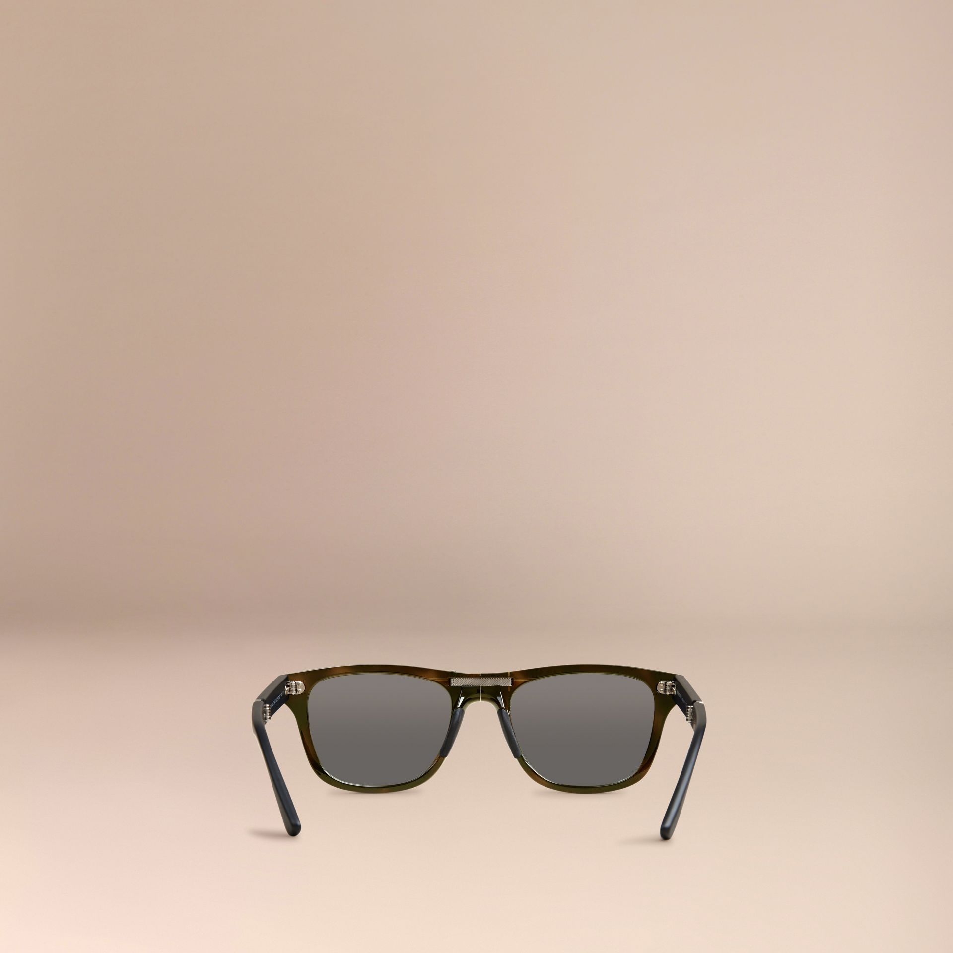 Folding Rectangular Frame Polarised Sunglasses in Grey - Men | Burberry - gallery image 3