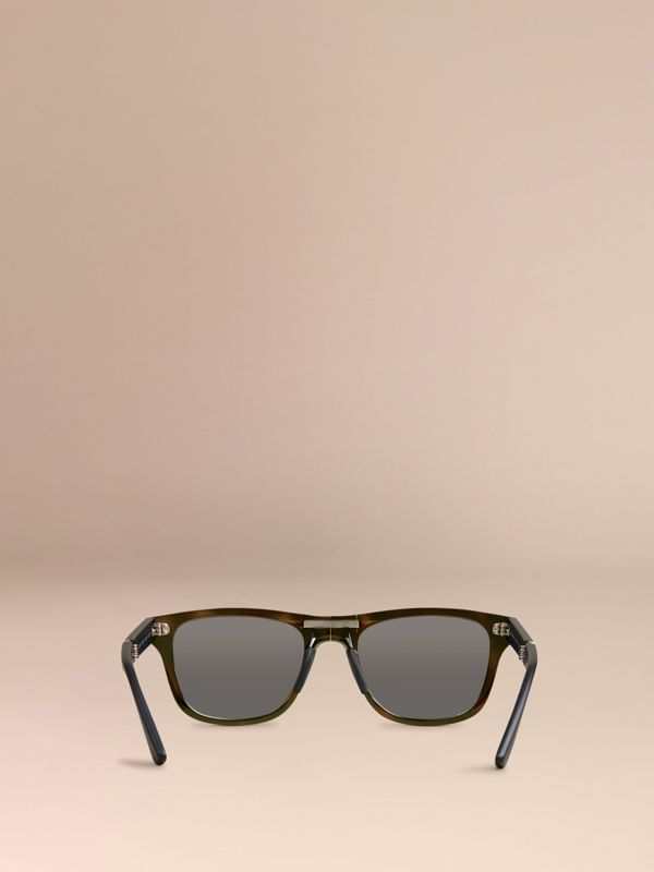 Folding Rectangular Frame Polarised Sunglasses in Grey - Men | Burberry Singapore - cell image 3