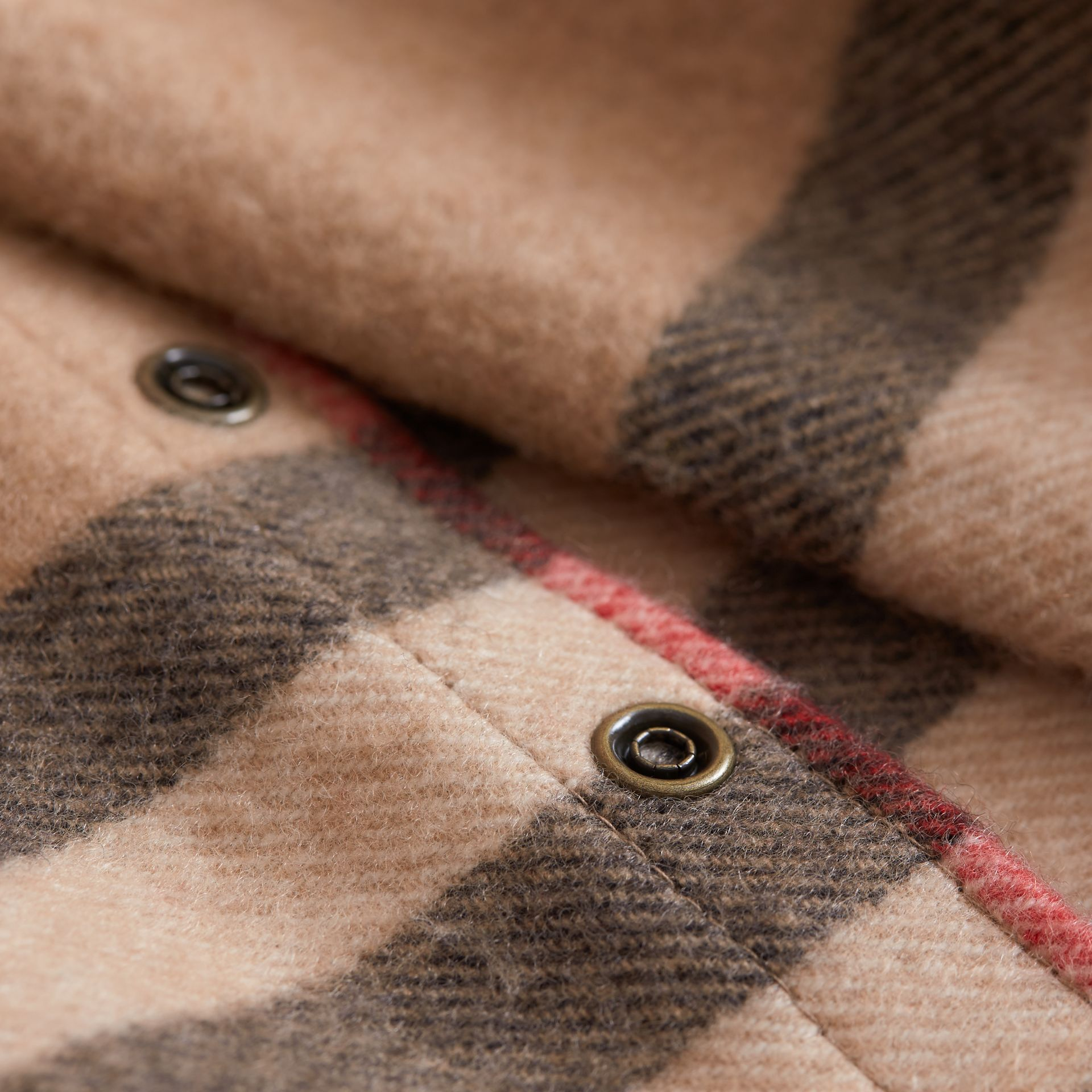 Exploded Check Cashmere Snood in Camel | Burberry Australia - gallery image 3