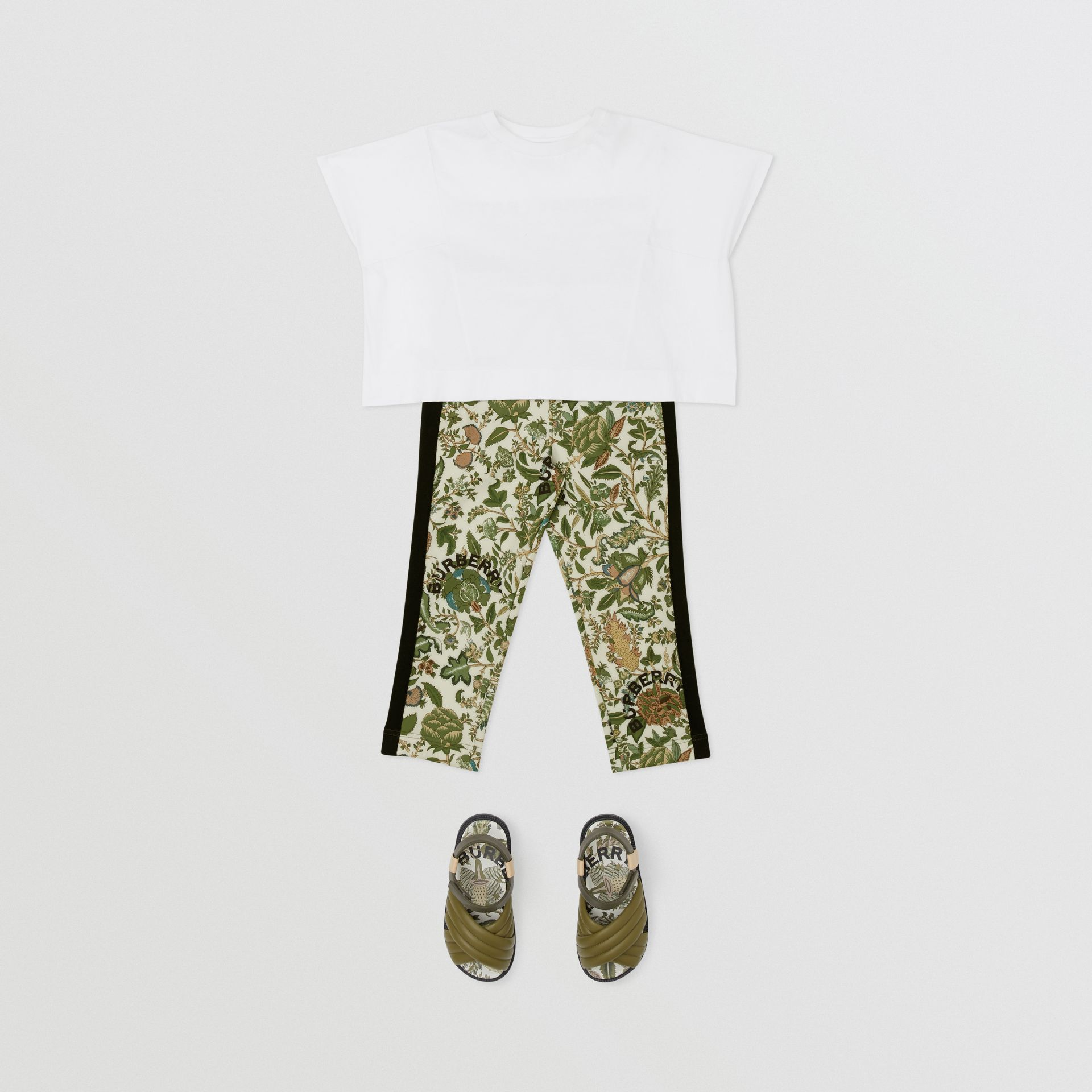 Botanical Print Neoprene Trackpants in Olive | Burberry Australia - gallery image 2