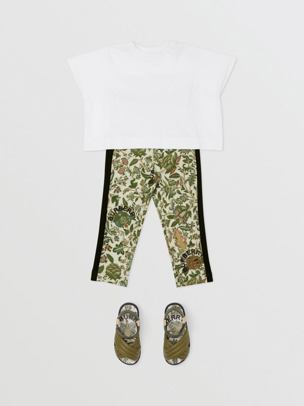 Botanical Print Neoprene Trackpants in Olive | Burberry Australia - cell image 2