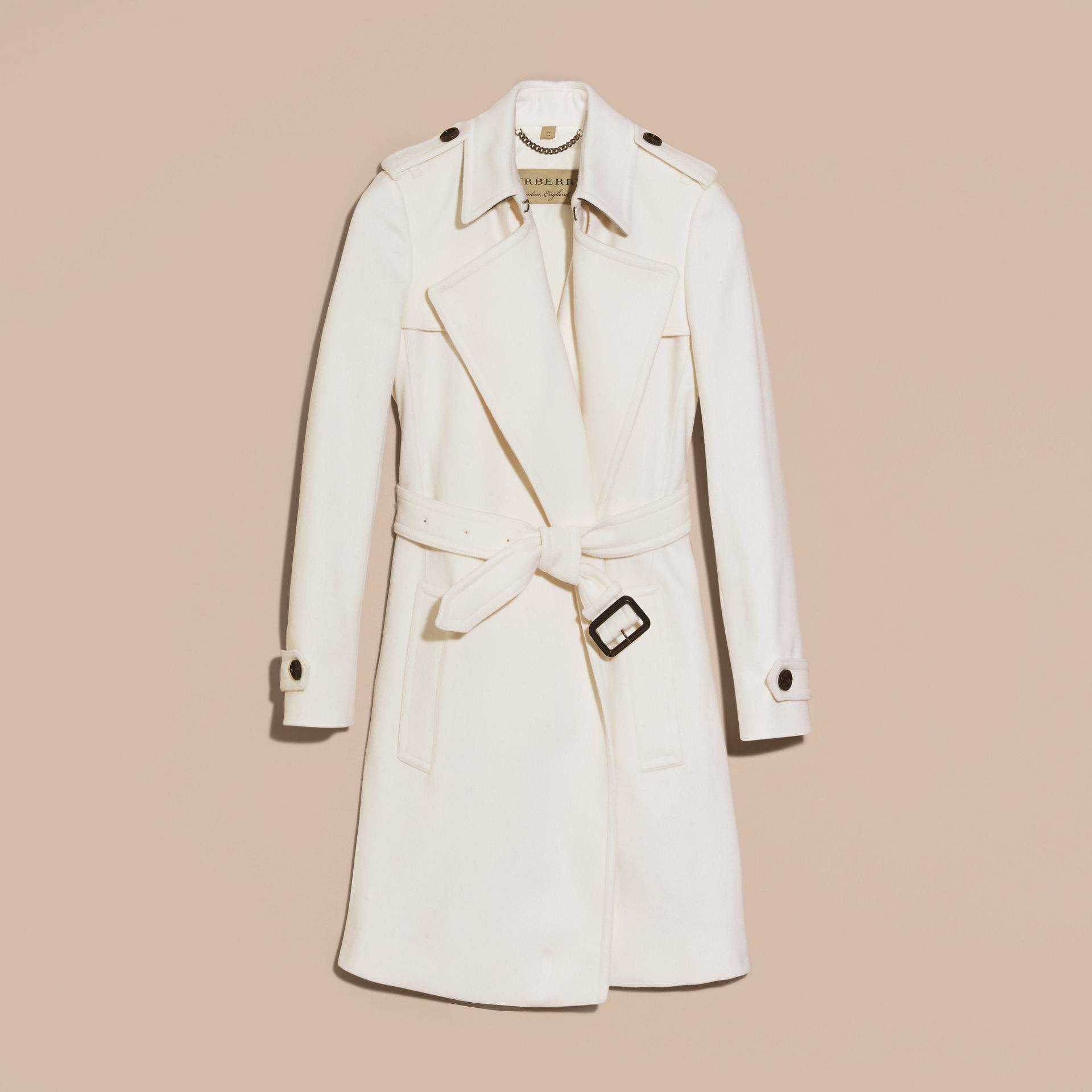 White Cashmere Wrap Trench Coat White - gallery image 4