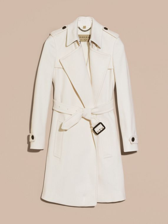 White Cashmere Wrap Trench Coat White - cell image 3